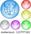 Globe and array down. Interface element. Raster illustration. - stock photo