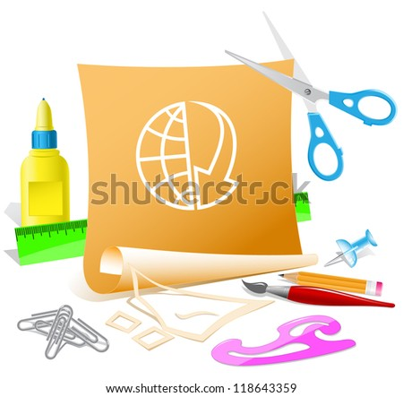 Globe and array down. Paper template. Raster illustration. - stock photo