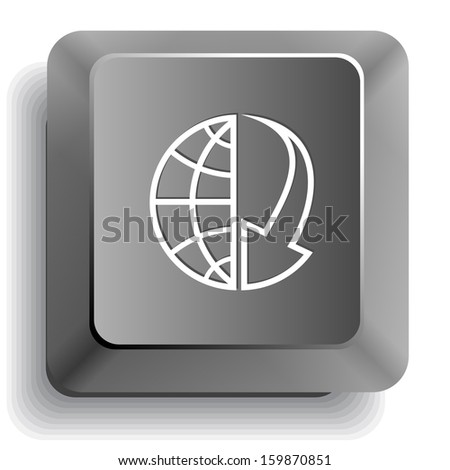 Globe and array down. Raster computer key. - stock photo