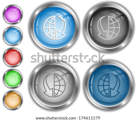 Globe and array down. Raster internet buttons.  - stock photo