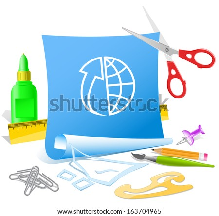 Globe and array up. Paper template. Raster illustration. - stock photo
