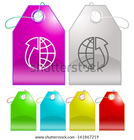 Globe and array up. Raster tags.  - stock photo