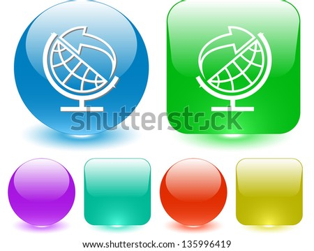 Globe and arrow. Interface element. Raster illustration. - stock photo