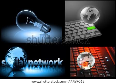 Globe and Bulb - stock photo