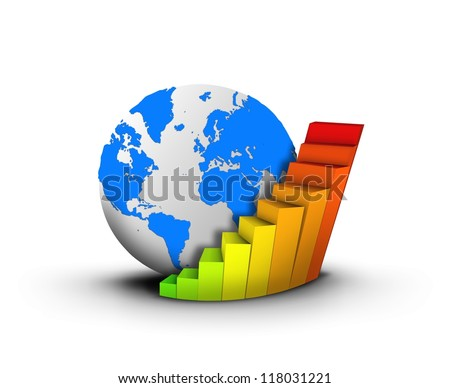 Globe and business chart  concept. Elements of this image furnished by NASA
