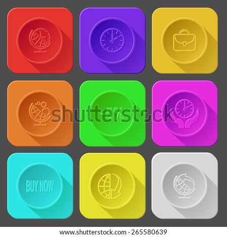 globe and clock, briefcase, globe and gears, -5%, clock in hands, buy now, globe and array down, globe and arrow. Color set raster icons. - stock photo