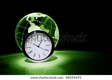 Globe and clock for background