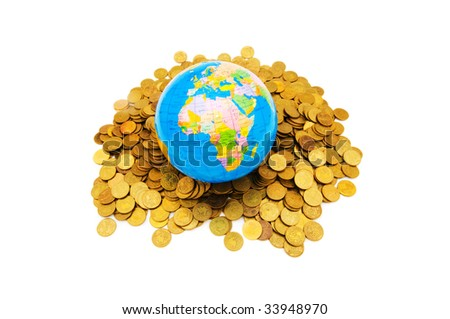Globe and coins isolated on the white background - stock photo