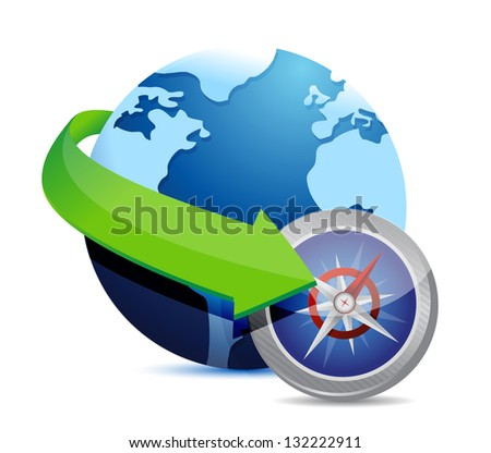 globe and compass illustration design over white - stock photo