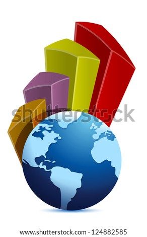 globe and curve business graph illustration design over white