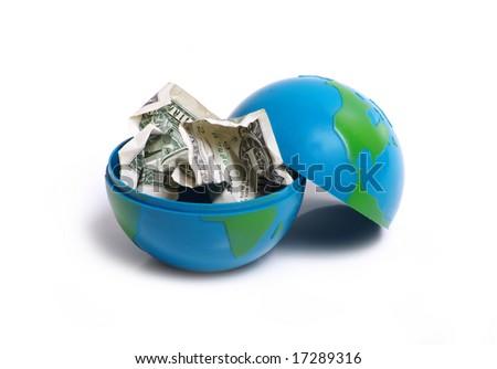 globe and dollar - stock photo
