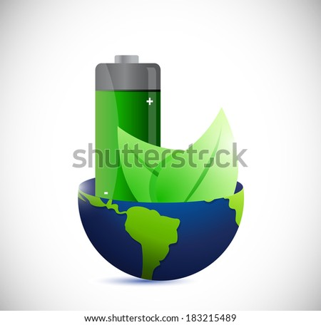 globe and eco battery energy illustration design over a white background - stock photo