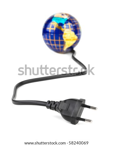 Globe and electrical cable isolated on white background - stock photo