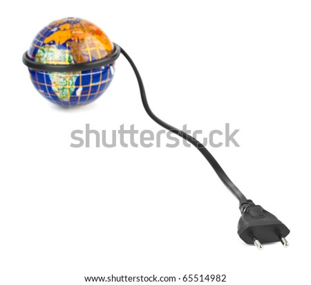 Globe and electrical cable isolated on white background