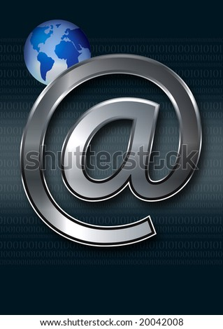 globe and email symbol - stock photo