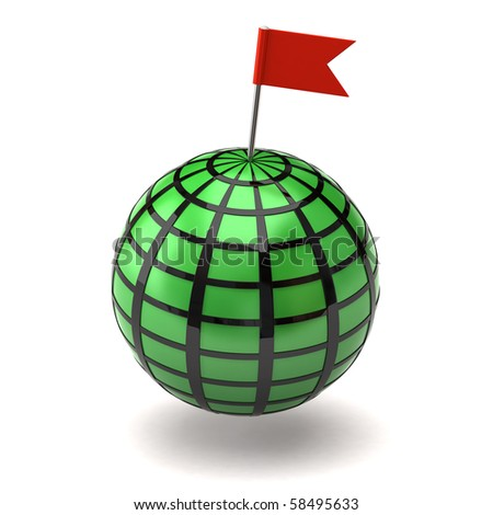 Globe and flag pin - stock photo