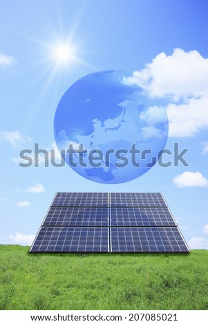 Globe And Grassland And Solar Panel