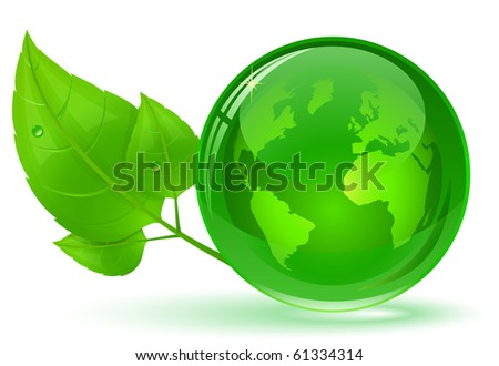 Globe and green leaves with drop of water. Eco Concept (vector version in portfolio) - stock photo