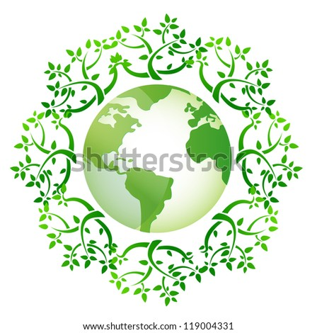 globe and leaves around illustration design over a white background - stock photo