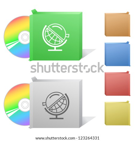 Globe and loupe. Box with compact disc. Raster illustration. Vector version is in my portfolio. - stock photo
