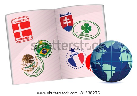 globe and passport illustration design with around the world stamps - stock photo