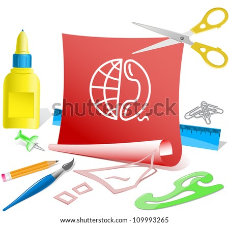 Globe and phone. Paper template. Raster illustration. - stock photo