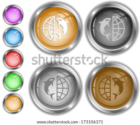 Globe and shamoo. Raster internet buttons. Vector version is in portfolio. - stock photo