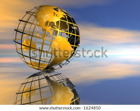 Globe and Sunset sky