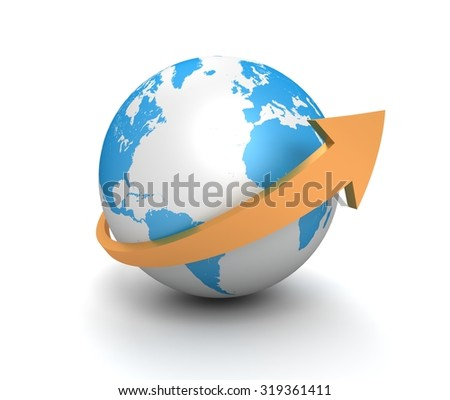 globe and surrounding arrow
