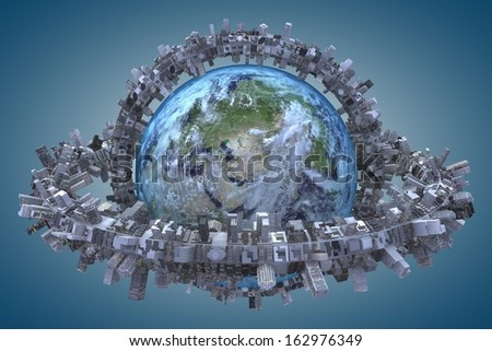 "globe and urbanization. ""Elements of this image furnished by NASA"" - stock photo"