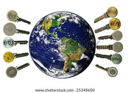 Globe and worldwide financial latchkeys, isolated, on white.