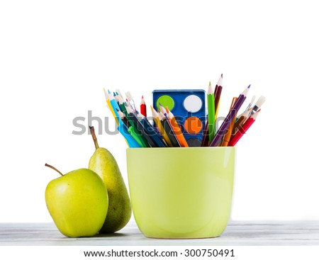 Globe, apple and pencils isolated on white background. Back to school concept. - stock photo
