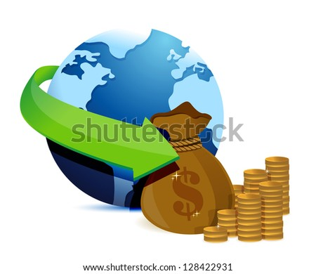 globe arrow and money illustration design over a white background