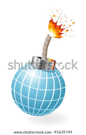 Globe as ignited bomb - stock photo