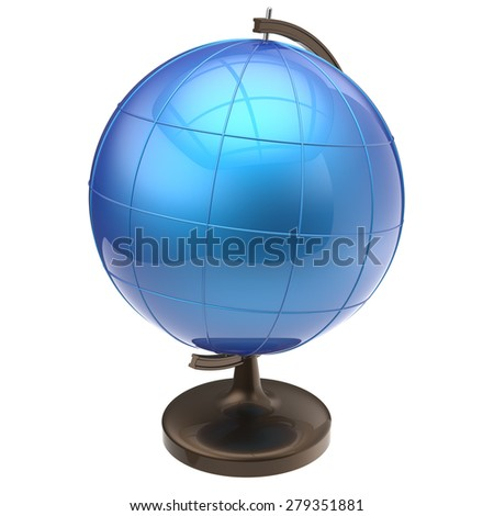 Globe blank blue Earth planet international global geography school studying world cartography symbol icon. 3d render isolated on white background - stock photo