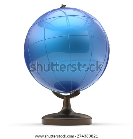 Globe blank blue planet Earth international global geography school studying world cartography symbol icon. 3d render isolated on white background - stock photo