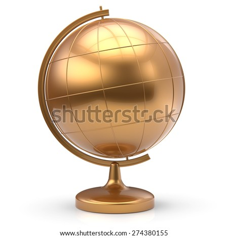 Globe blank golden planet Earth international global geography school studying world cartography symbol icon gold. 3d render isolated on white background - stock photo