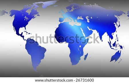 Globe blue world map on gray background