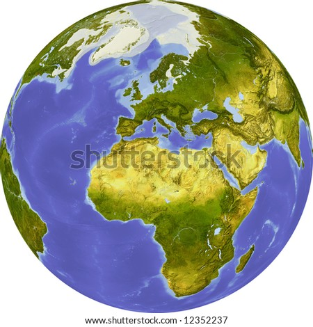 Globe, centered on Africa. Shaded relief colored according to dominant vegetation. Shows polar and pack ice, large urban areas. Isolated on white, with clipping path. - stock photo