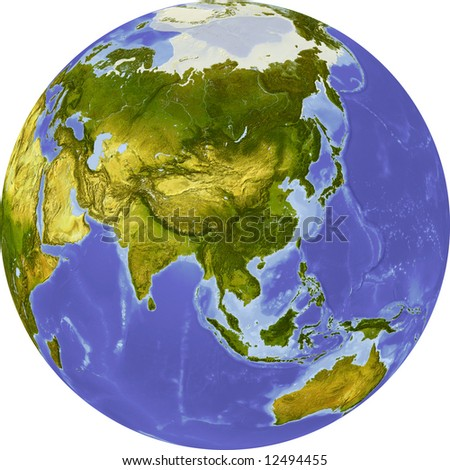 Globe, centered on Asia. Shaded relief colored according to dominant vegetation. Shows polar and pack ice, large urban areas. Isolated on white, with clipping path. - stock photo