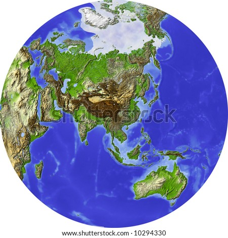 Globe, centered on Asia. Shaded relief colored according to terrain height. Shows polar pack ice, large urban areas. Isolated on white. - stock photo