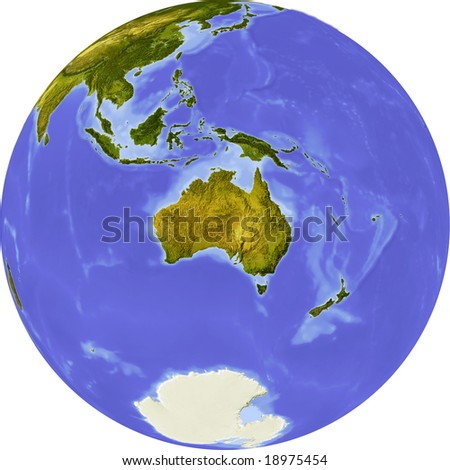 Globe, centered on Australia. Shaded relief colored according to vegetation. Shows polar and pack ice. Isolated on white, with clipping path.
