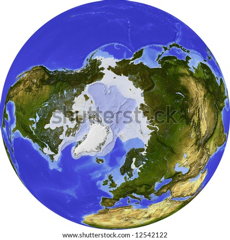 Globe, centered on the North Pole. Shaded relief colored according to dominant vegetation. Shows polar and pack ice, large urban areas. Isolated on white, with clipping path.