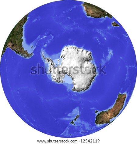 Globe, centered on the South Pole. Shaded relief colored according to dominant vegetation. Shows polar and pack ice. Isolated on white, with clipping path. - stock photo