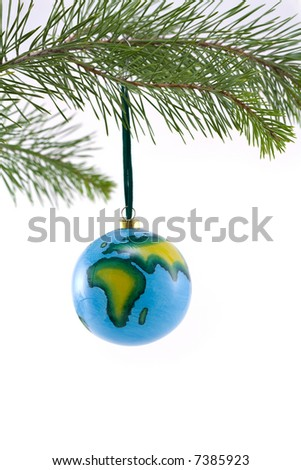 Globe Christmas Ornament showing Africa and Europe - stock photo