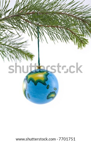 Globe Christmas Ornament showing Asia - stock photo
