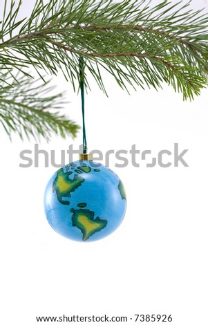 Globe Christmas Ornament showing North and South America - stock photo