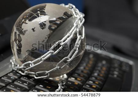 Globe circuit  and keyboard - stock photo