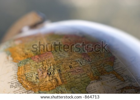 Globe close-up of USA - stock photo