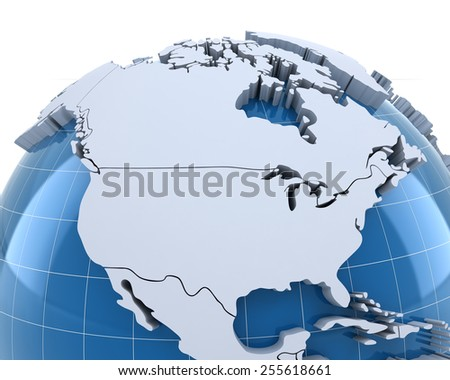 Globe, close-up on USA and Canada, 3d render - stock photo